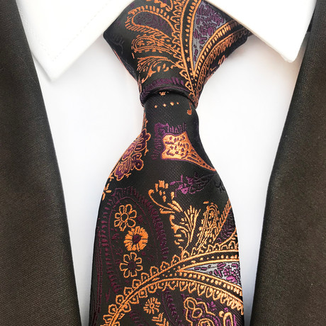 Zaid Silk Tie // Black + Gold + Purple Paisley