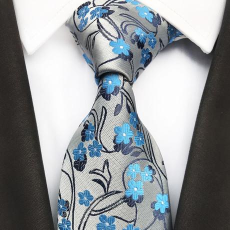 Bowen Tie // Silver + Blue Floral