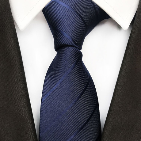 Carson Silk Tie // Navy Stripes