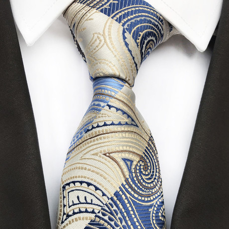 Liam Silk Tie // Cream + Blue Paisley