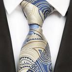 Liam Silk Tie // Cream + Blue Paisley