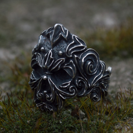 Floral Skull Ornament Ring // Silver (6)