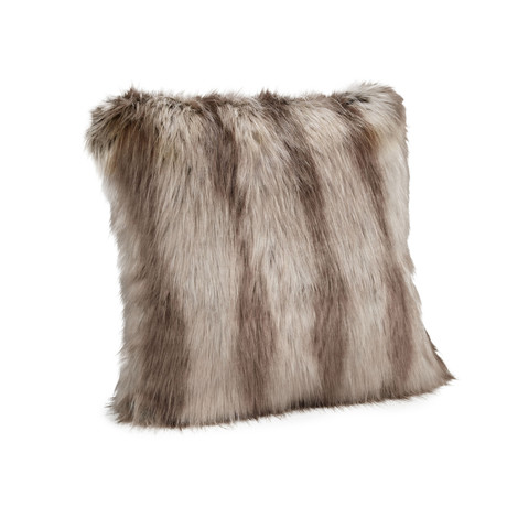 "Limited Edition Faux Fur Pillow // Silver Fox // 18""L x 18""W"
