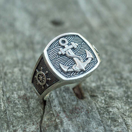 Anchor Signet Ring // Silver (6)