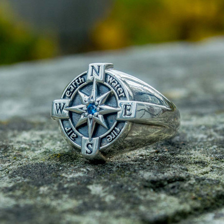 Compass Ring + Cubic Zirconia (6)