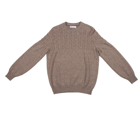 Domenico Cable Knit Cashmere Sweater // Brown (Euro: 46)