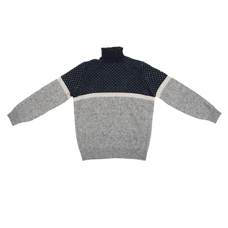 Paul Heavy Cashmere Blend Turtleneck // Gray + Blue (Euro: 46)