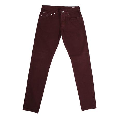 Cornelius 5 Pocket Jean Pants // Burgundy (32WX32L)