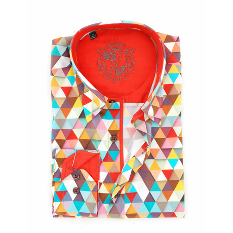 Bert Digital Print Button-Up Shirt // Red (S)