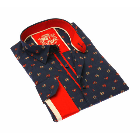 Shelby Jacquard Shirt // Red/Navy (S)