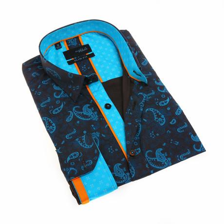 Mitchel Print Shirt // Turquoise (S)