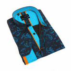 Mitchel Print Shirt // Turquoise (XL)