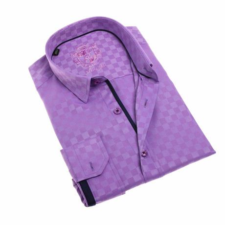 Damon Jacquard Button-Up Shirt // Lilac (S)