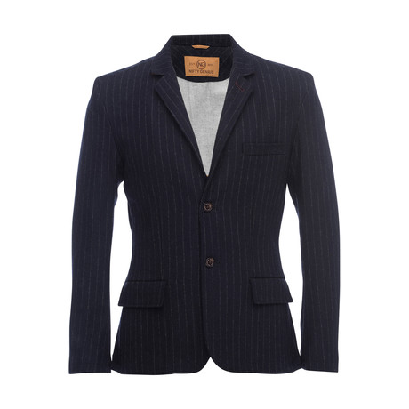 Kurt Notched Pinstripe Lapel Stretch Blazer // Navy (XS)