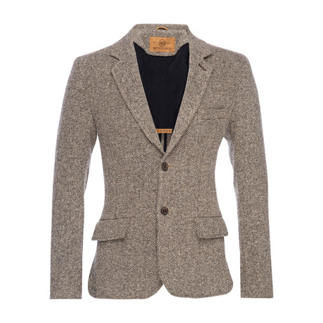 Kurt Notched Wool Herringbone Lapel Blazer // Brown (XS)