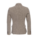 Kurt Notched Wool Herringbone Lapel Blazer // Brown (XS)