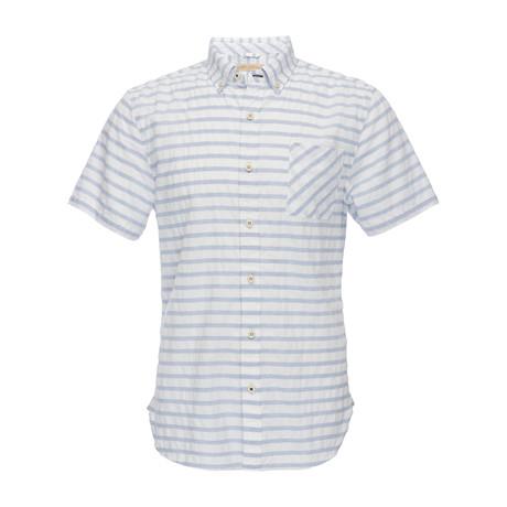 Truman Short Sleeve Button Down Shirt // White + Blue Stripe (XS)