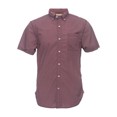 Truman Short Sleeve Button Down Shirt // Burgundy (XS)