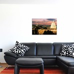 """High angle view of a city lit up at dusk, Washington DC, USA // Panoramic Images (18""""W x 12""""H x 0.75""""D)"""