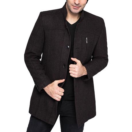 PLT8311 Overcoat // Patterned Burgundy (M)