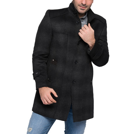 PLT8340 Overcoat // Checked Anthracite (M)