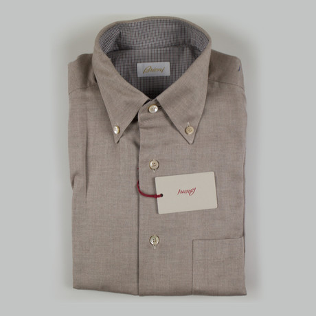 Enzo Cotton Slim Fit Shirt // Brown (S)