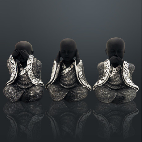 Buddha See, Hear, And Say No Evil // Set Of 3 // Fine Art Statues