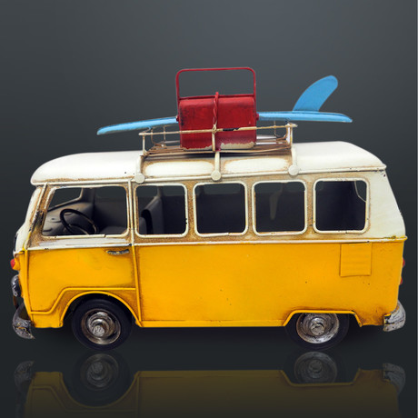 60'S Volkswagen // Handmade Metal Yellow Bus