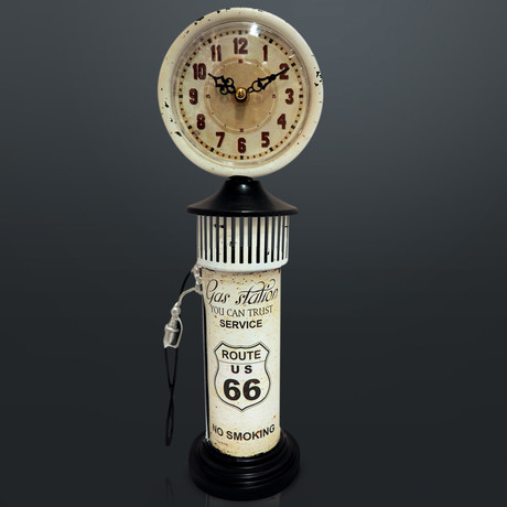 Route 66 White Gas Pump // Industrial Art Clock