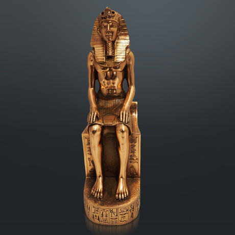 Egyptian Pharaoh Ramses Ii //On Hieroglyphs Throne // Fine Art Statue