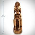 Egyptian Pharaoh Ramses Ii //On Hieroglyphs Throne // Fine Art Statue