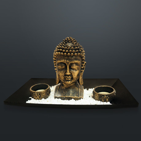 Buddha Head // Fine Art Statue And Tea Lights Tray
