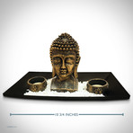 Buddha Head // Fine Art Statue And Tea Lights Tray