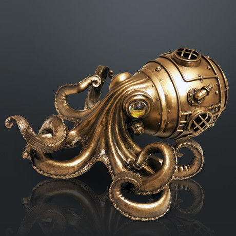 Steampunk Octopus Trinket Box // Cast Bronze & Glass Statue
