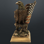 American Bald Eagle And Flag // Cast Bronze Statue