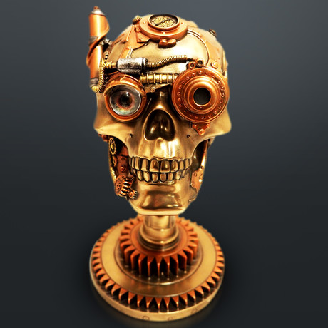 Steampunk Skull On Gear Stand // Cast Bronze Statue & Compass