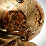 Steampunk Skull On Gear Stand // Cast Bronze Statue & Compass