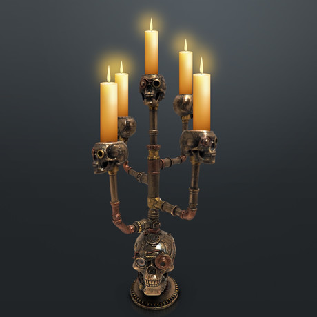Steampunk Skull // Cast Bronze Candle Holder & Statue