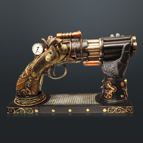 Steampunk 6 Barrel Pistol // Cast Bronze Statue