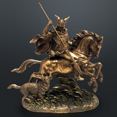 Odin Norse God Riding Sleipnir // Cast Bronze Statue