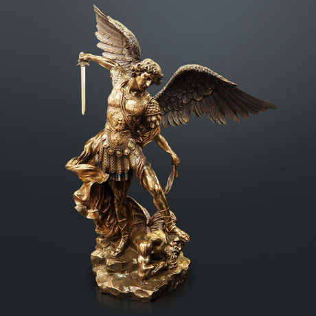 Archangel Michael Fighting Lucifer // Cast Bronze Statue