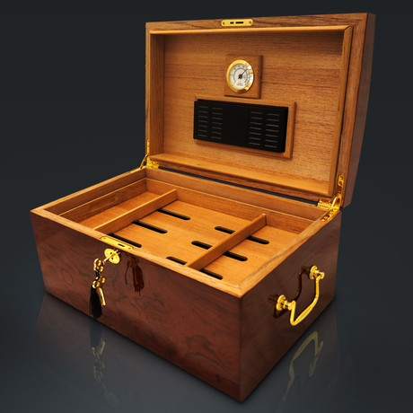 Burl Wood High Gloss + Mappa Wood Inlay // Large Luxury Cigar Humidor 150Ct