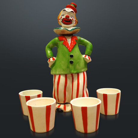 Original Circus Clown & 4 Shot Glasses // Vintage Decanter
