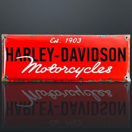 Original Harley-Davidson Motorcycles // Red Enamel Vintage Dealership Sign