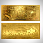 24K Gold-Plated US $ Bills // High Roller Custom Frame ($100 USD)