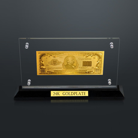 24K Gold-Plated 1,000 Us $ Bill // High Roller Custom Table Top Display