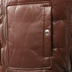 Kaskade Leather Two Tone Puffer Vest // Brown (XS)