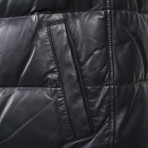 Benassi Blue Leather Two Tone Puffer Vest // Blue + Gray (L)