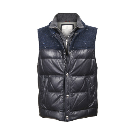 Benassi Blue Leather Two Tone Puffer Vest // Blue + Gray (XS)