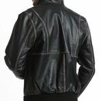 Distressed Leather Bomber // Black (2XL)